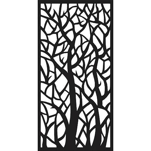 3 ft. W x 6 ft. H Woodland Decorative Aluminum Screen in Black