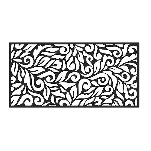 Peak Products 4 ft. W x 2 ft. H Floral Decorative Resin Screen in Black