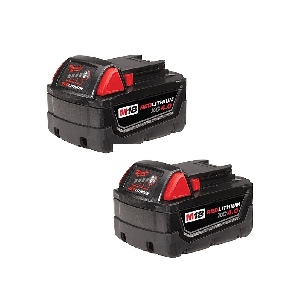 Milwaukee Tool M18 18V Lithium-Ion Extended Capacity (XC) 4.0 Ah REDLITHIUM Battery Pack (2-Pack)