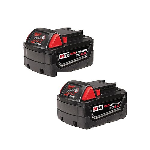 M18 18V Lithium-Ion Extended Capacity (XC) 4.0 Ah REDLITHIUM Battery Pack (2-Pack)