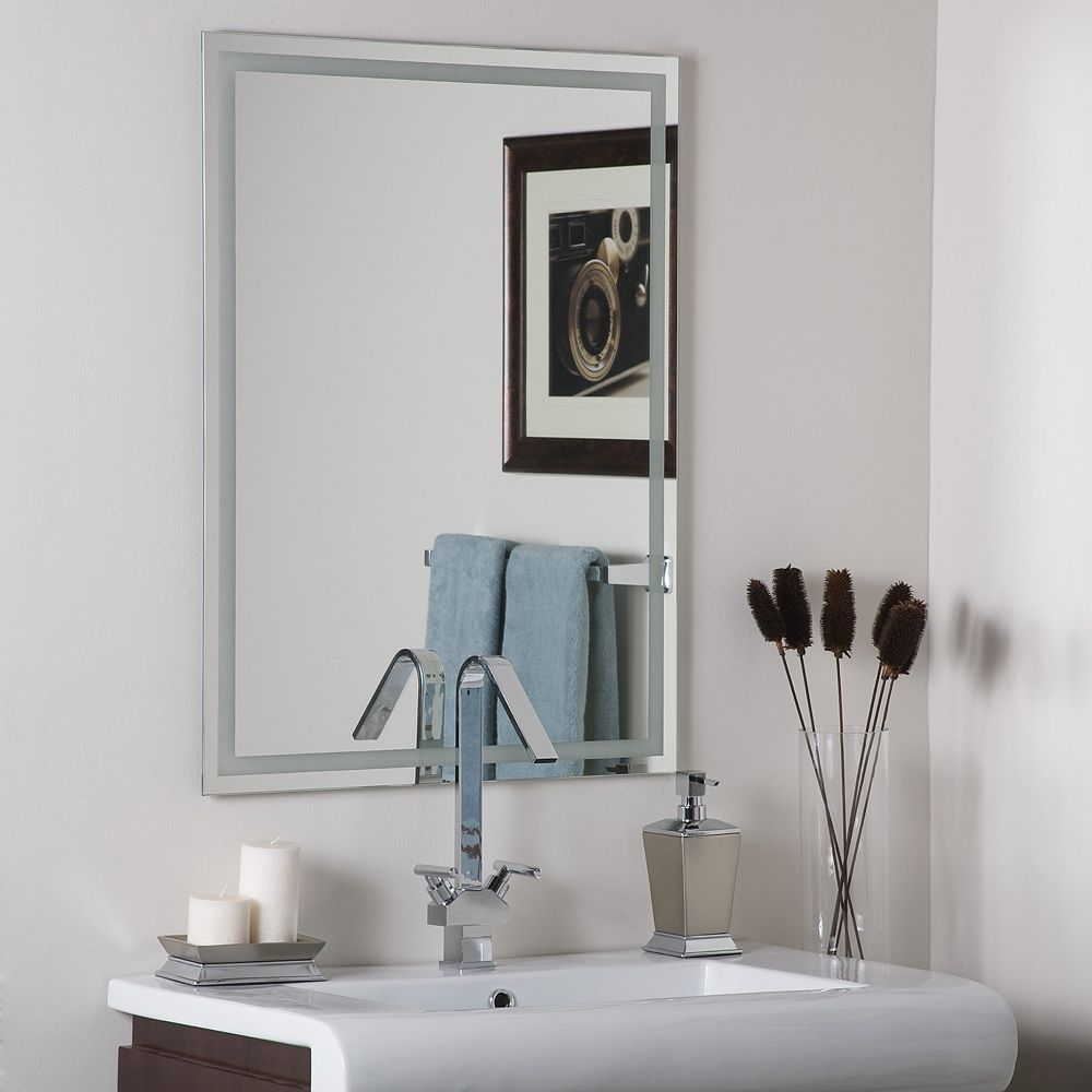 Decor Wonderland 32-inch  x 24-inch Rectangle Frameless Etch Mirror with Polished Edge and Dual Mounting Brackets