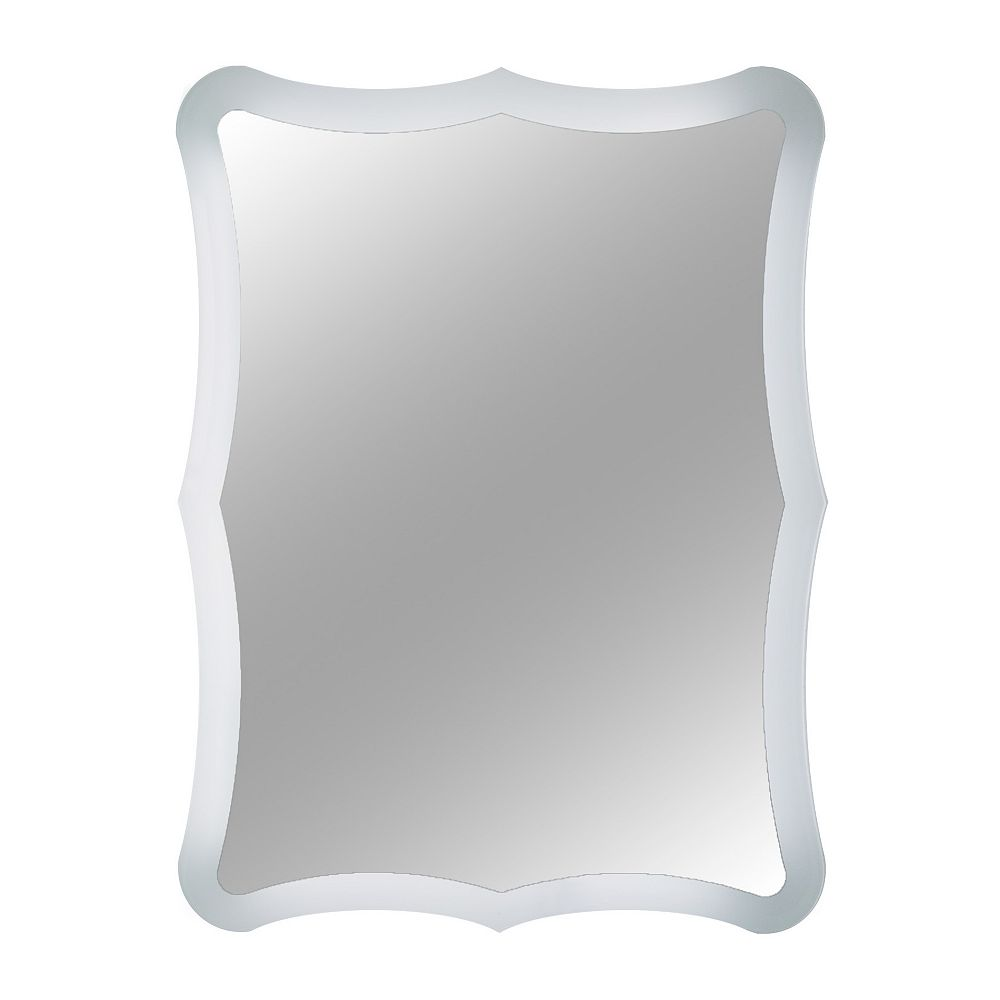 Decor Wonderland 32-inch  x 24-inch Rectangle Coquette Frameless Wall Mirror Polished Edge and Dual Mounting Brackets