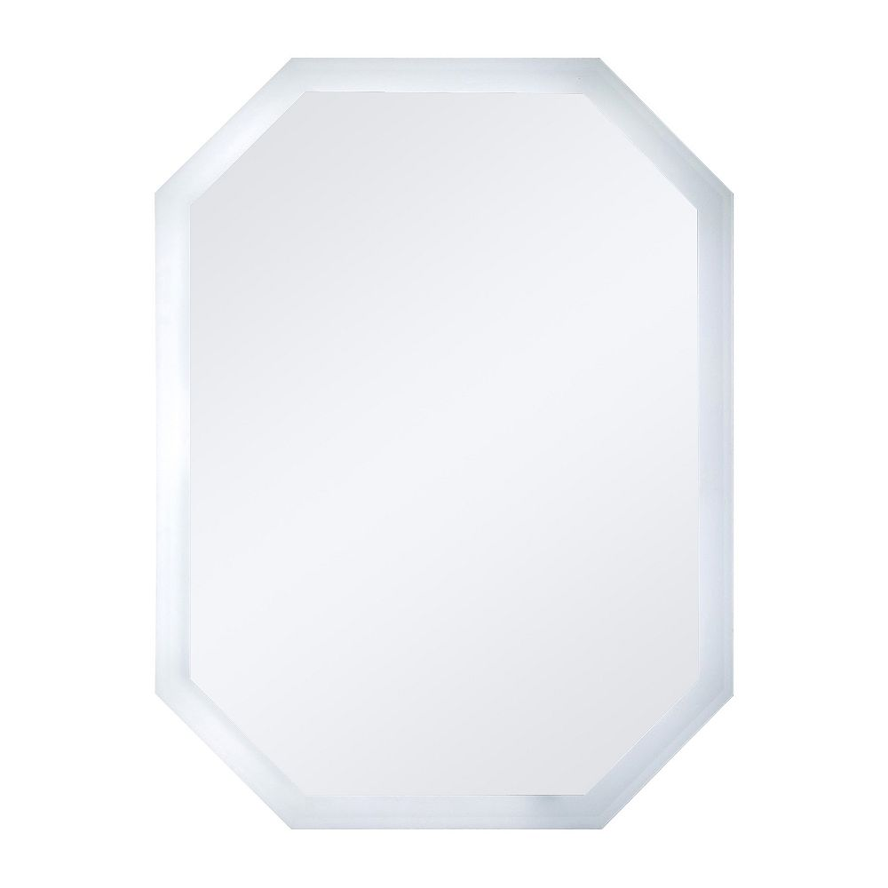 Decor Wonderland 32-inch  x 24-inch Octagon Frameless Bevelled Mirror with Bevelled Edge and Dual Mounting Brackets
