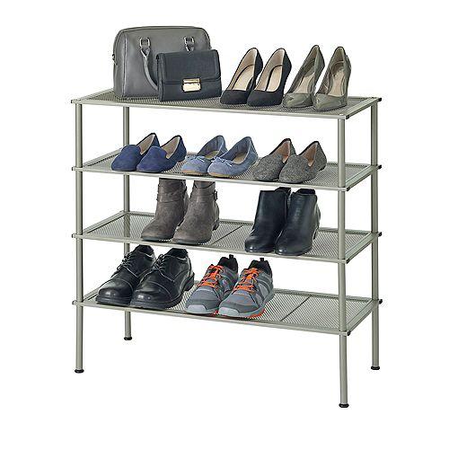 Set of 2 - 2 Tier Stackable Metal Shoe Rack