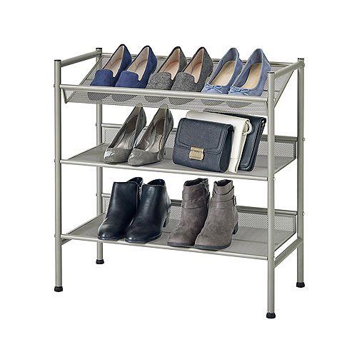 3 Tier Adjustable Metal Mesh Shoe Rack