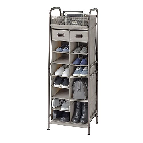 16 Cubby Adjustable Shoe Organizer w Drawers