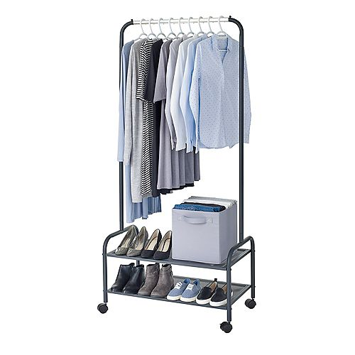 Heavy Duty Steel Garment Rack w Shelves