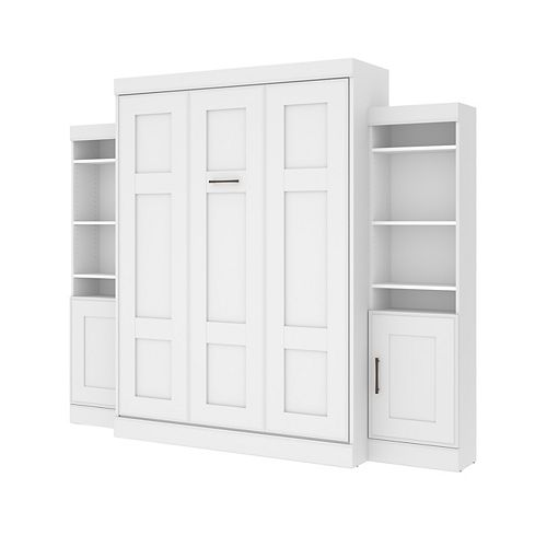 Edge Queen Murphy Bed with 2 Storage Units (107W) - White
