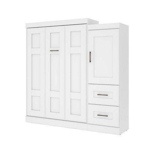 Edge Lit escamotable deux places (double) et unité de rangement avec tiroirs (85L) - Blanc