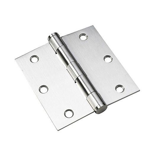 2 pack - 3 1/2-in (89 mm) Full Mortise Butt Hinge, Stainless Steel
