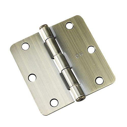 Charnière à mortaiser de 3 1/2 po (89 mm), rayon de 1/4 po, laiton antique (Paquet de 2)