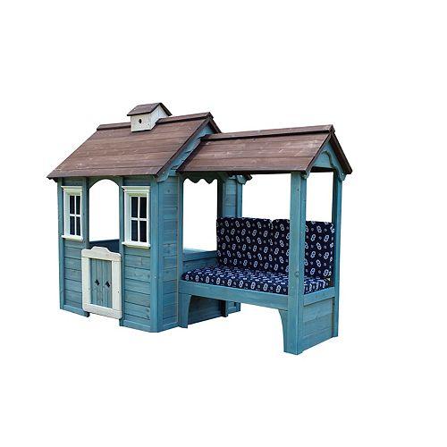 Maisonnette en bois avec banc