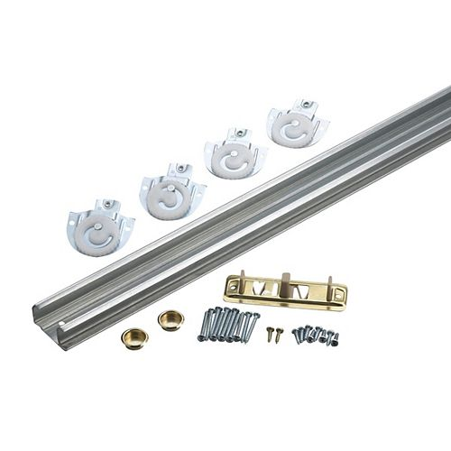 96 in (2430 mm) Bypass Door Hardware Kit - with Track, Zinc