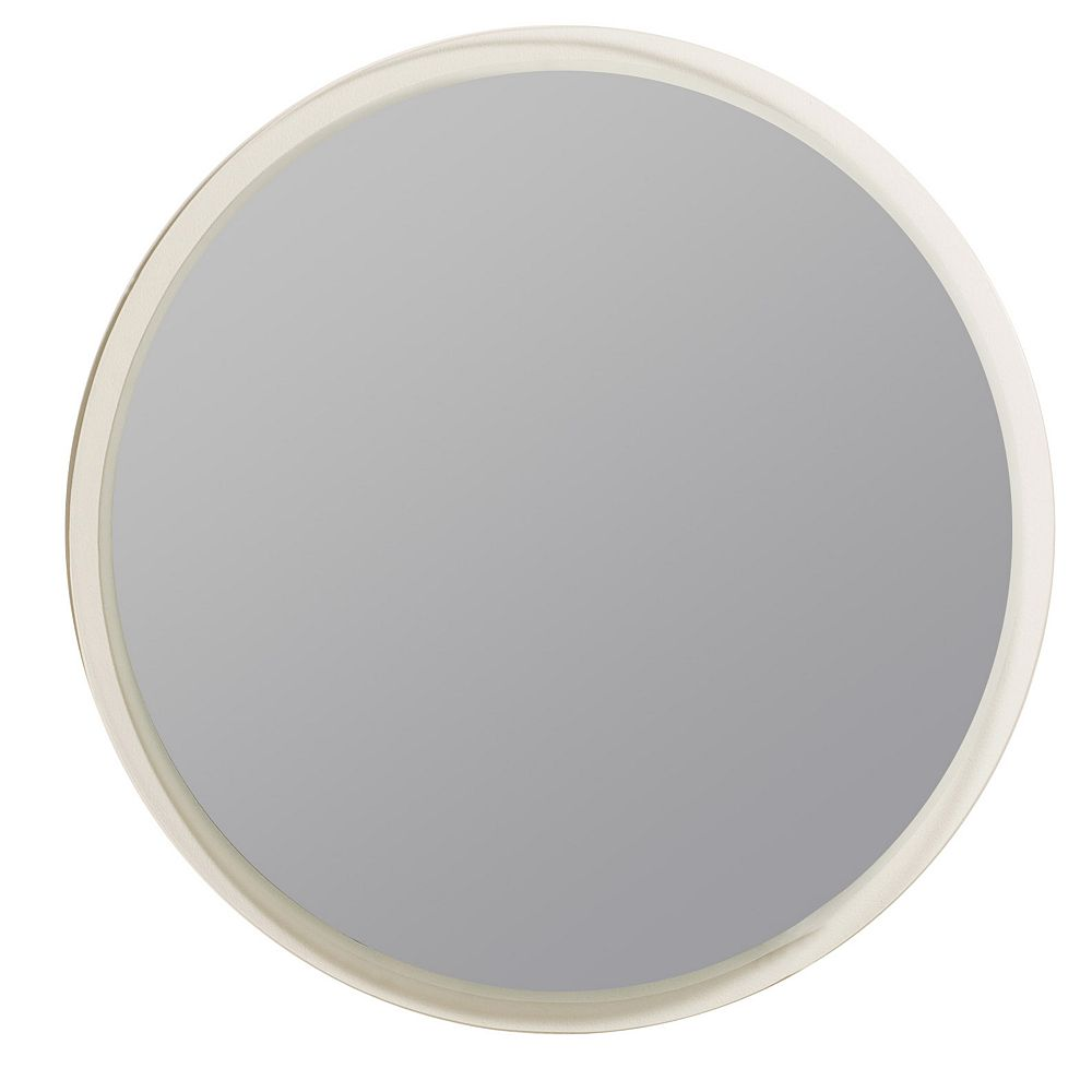 Decor Wonderland 24-inch    Round Frameless Contempo Mirror with Polished Edge and Dual Mounting Brackets