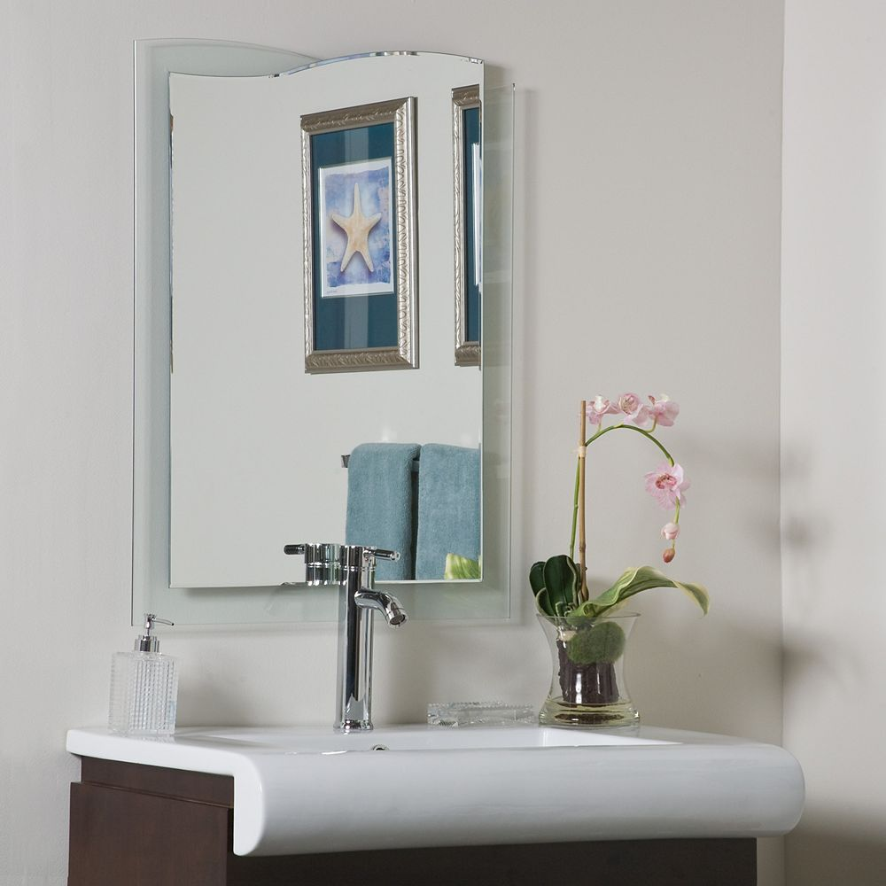 12-inch x 12-inch Decorative Rectangle Tula Bathroom Mirror with Bevelled  Edge