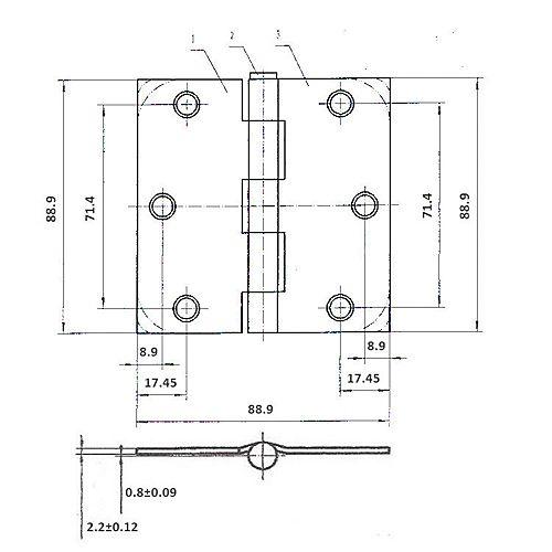 Charnière à mortaiser de 3 1/2 po (89 mm), rayon de 1/4 po, blanc (Paquet de 2)