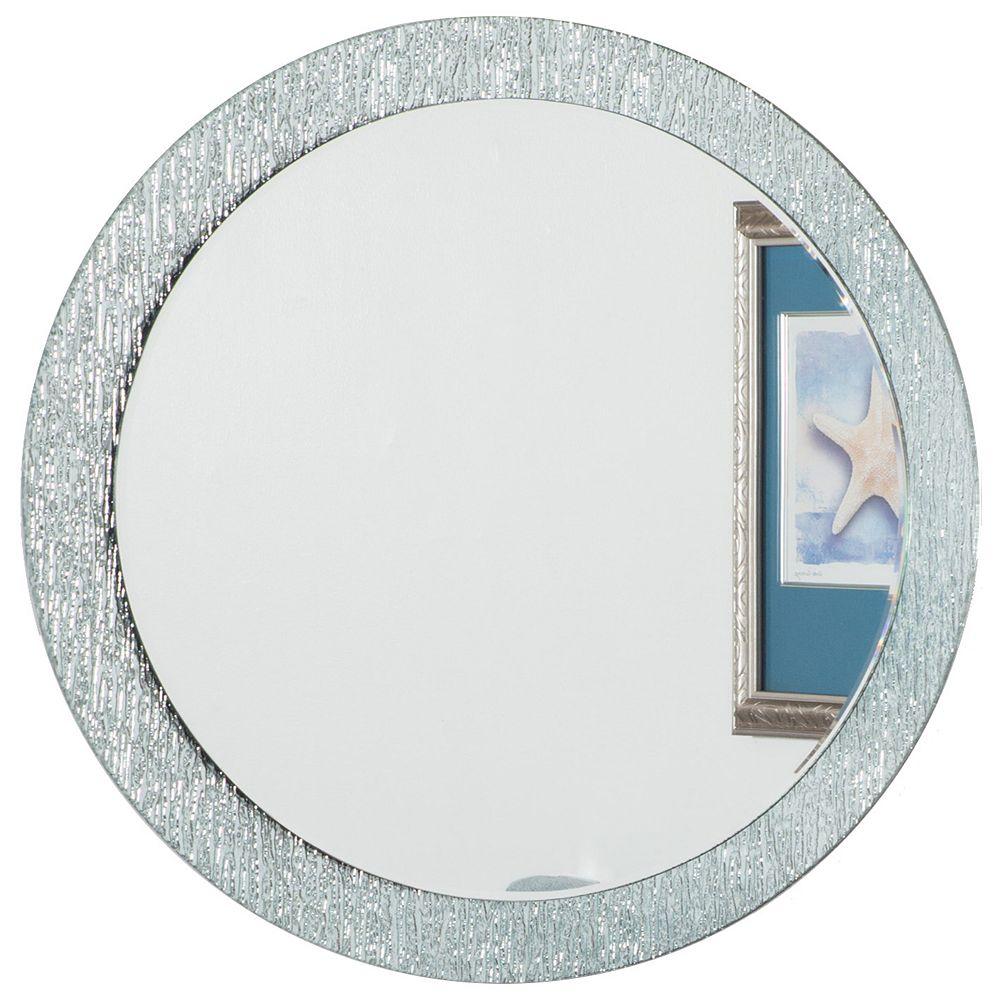 Decor Wonderland 28-inch   Round Frameless Molten Glass Wall Mirror with Bevelled Edge