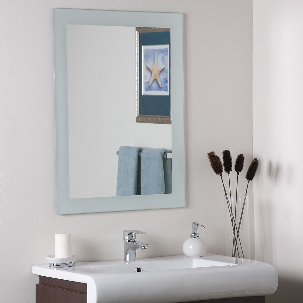 Decor Wonderland 32-inch  x 24-inch Rectangle Sands Frameless Mirror with Polished Edge and Dual Mounting Brackets