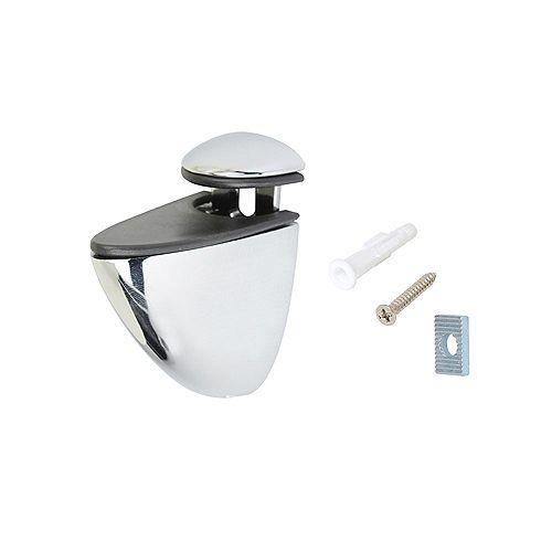 1 Paire, Support mural oval pour tablette en verre ou en bois, Chrome, 4 à 6mm