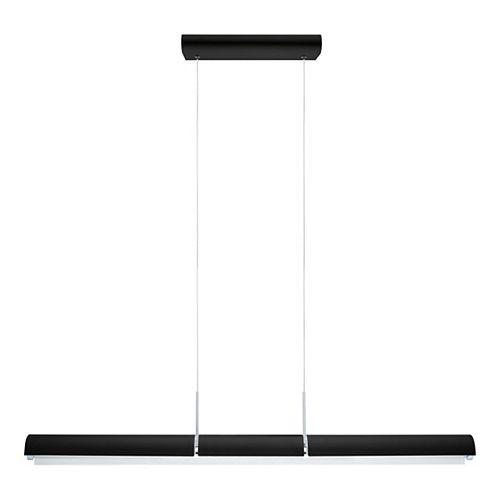 Caldina LED Pendant Light, Black Finish with White and Chrome Shade