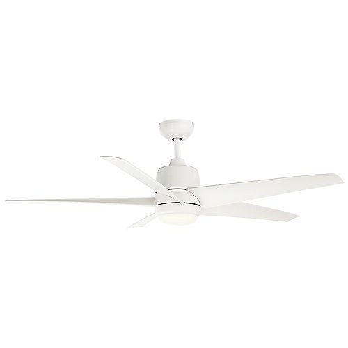 Mena 54-inch Color Changing LED Indoor/Outdoor Matte White Ceiling Fan with Light and Remote