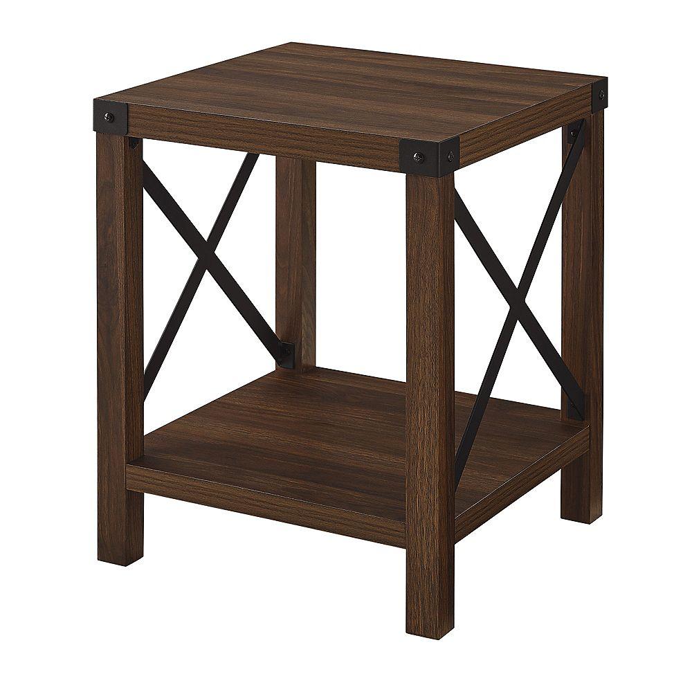 Rustic Wood Side Table - Dark Walnut