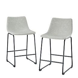 24-inch Grey Faux Leather Counter Stool (Set of 2)