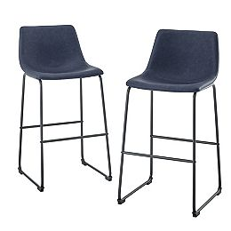 """30"""" Industrial Faux Leather Barstools, Set of 2 -  Navy Blue"""
