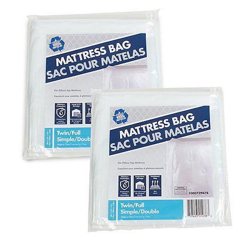 Paquet de 2 Sac pour matelas de lit jumeau ou plein lit de 2,31 m x 1,37 m x 0,36 m