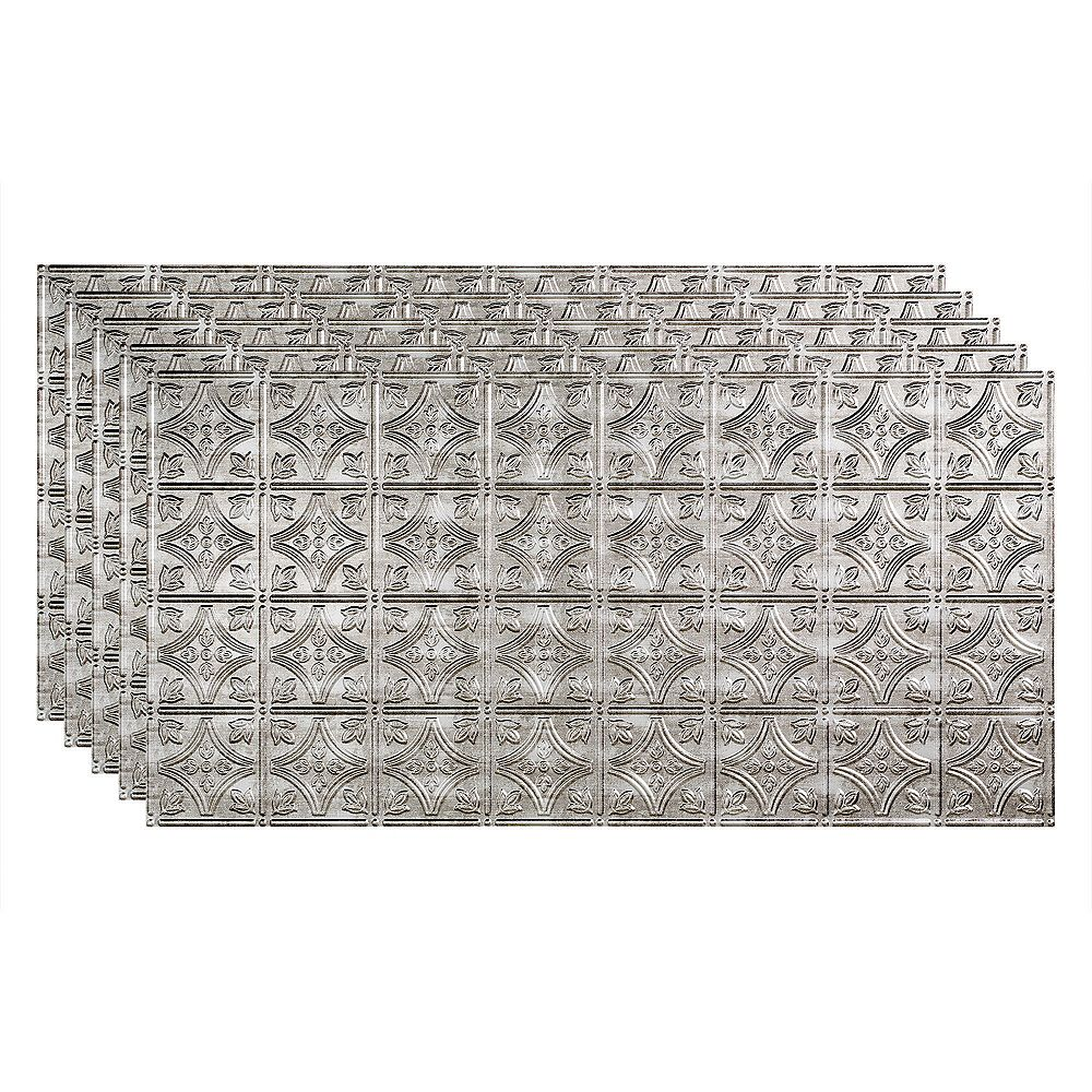 Fasade Traditional 1, 2x4 Glue Up Ceiling Tile, Crosshatch Silver Finish 5-pack (40 sq ft)