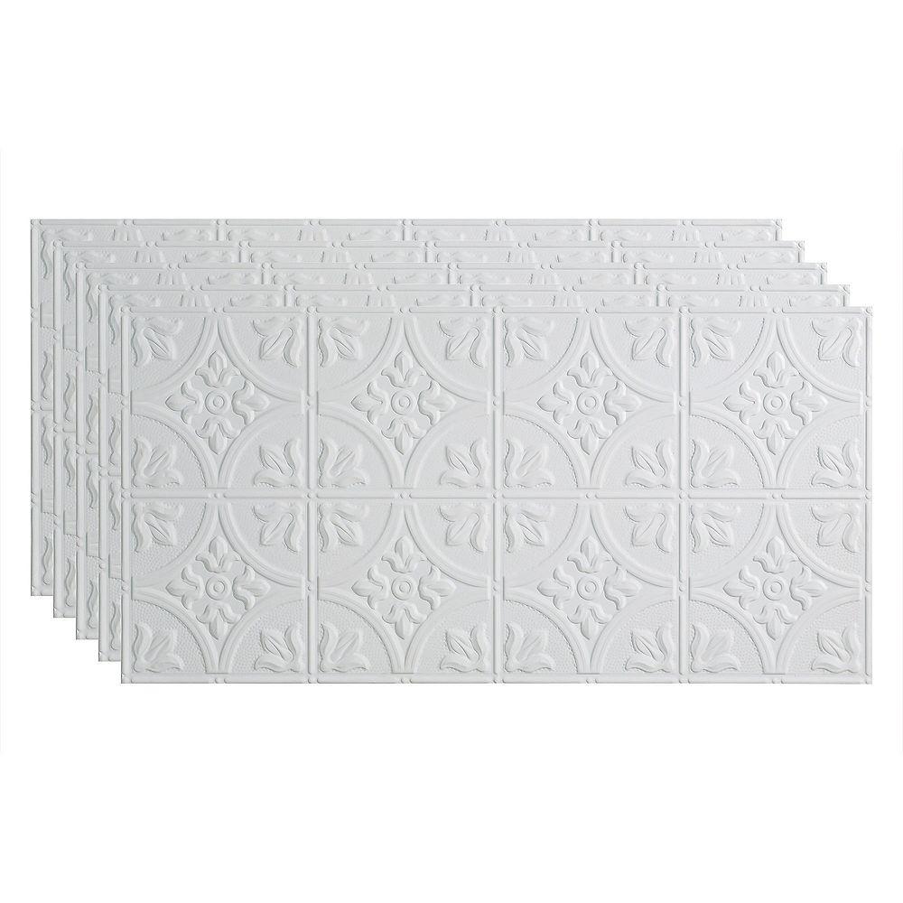 Fasade Tuile Plaf. À Coller 2x4, Traditional 2, Blanc Mat à Peindre, pqt. 5, 40 pieds carré