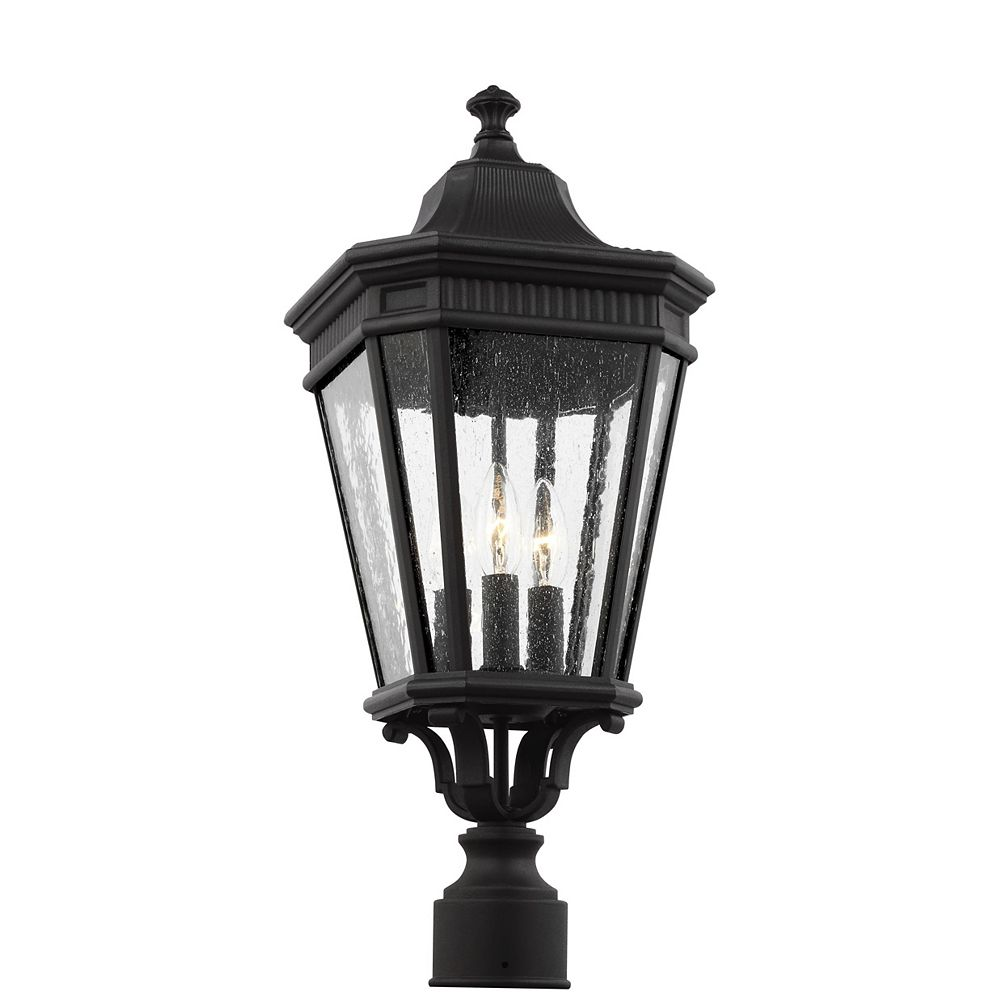 Feiss Collection for Generation Lighting Cotswold Lane Lampe dextérieur poteau en noir 22,5 po à 3 ampoules