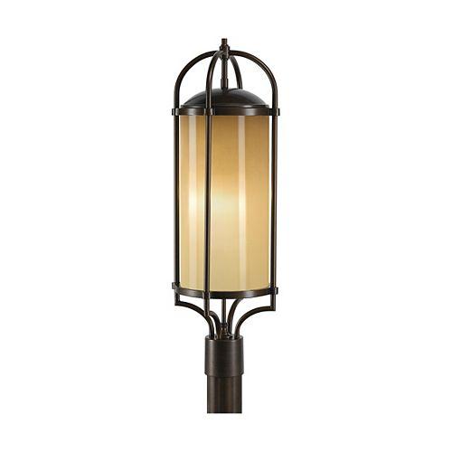 Dakota Lampe poteau dextérieur en bronze vieille époque à 3 ampoules