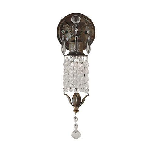 Maison De Ville 5 po Applique French Country en bronze anglais avec détails de cristal et perles 1-A