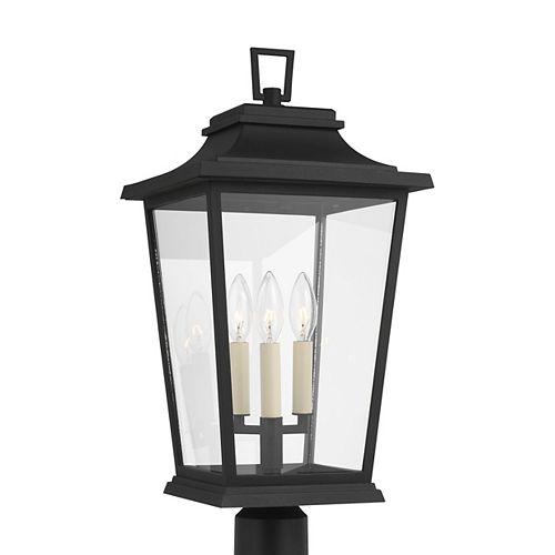 Warren 10,625 po larg. Lampe poteau dextérieur en noir texturé avec verre transparent à 3 ampoules
