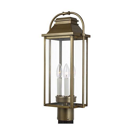 Wellsworth Lampe de poteau dextérieur en bronze antique à 3 ampoules