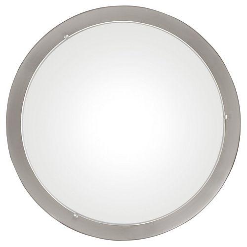Planet 1-Light 60W Matte Nickel with Satin Glass Flushmount