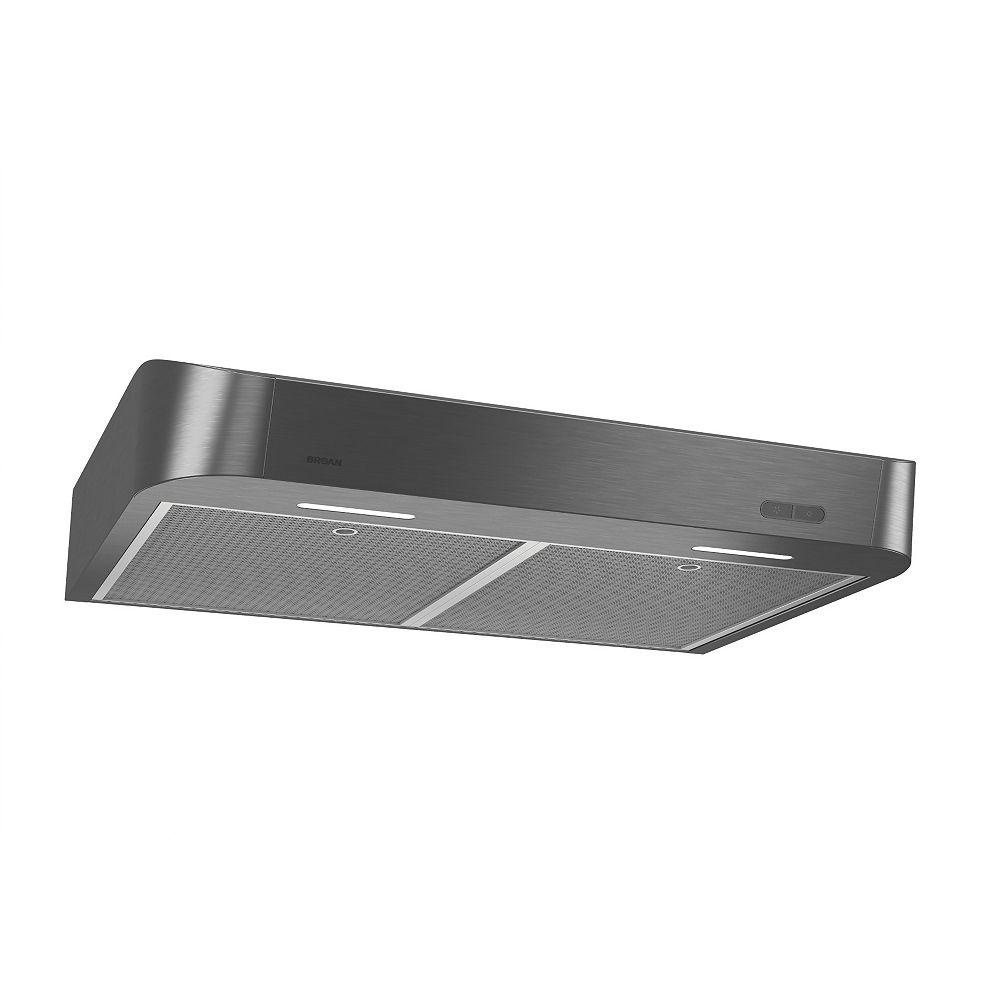 Broan 36 inch 250 CFM Undercabinet Range Hood in Black Stainless Steel