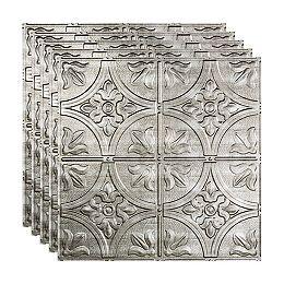 Tuile Plafond Suspendu, 2x2, Traditional 2, Crosshatch Silver, pqt 5, 20 pieds carré