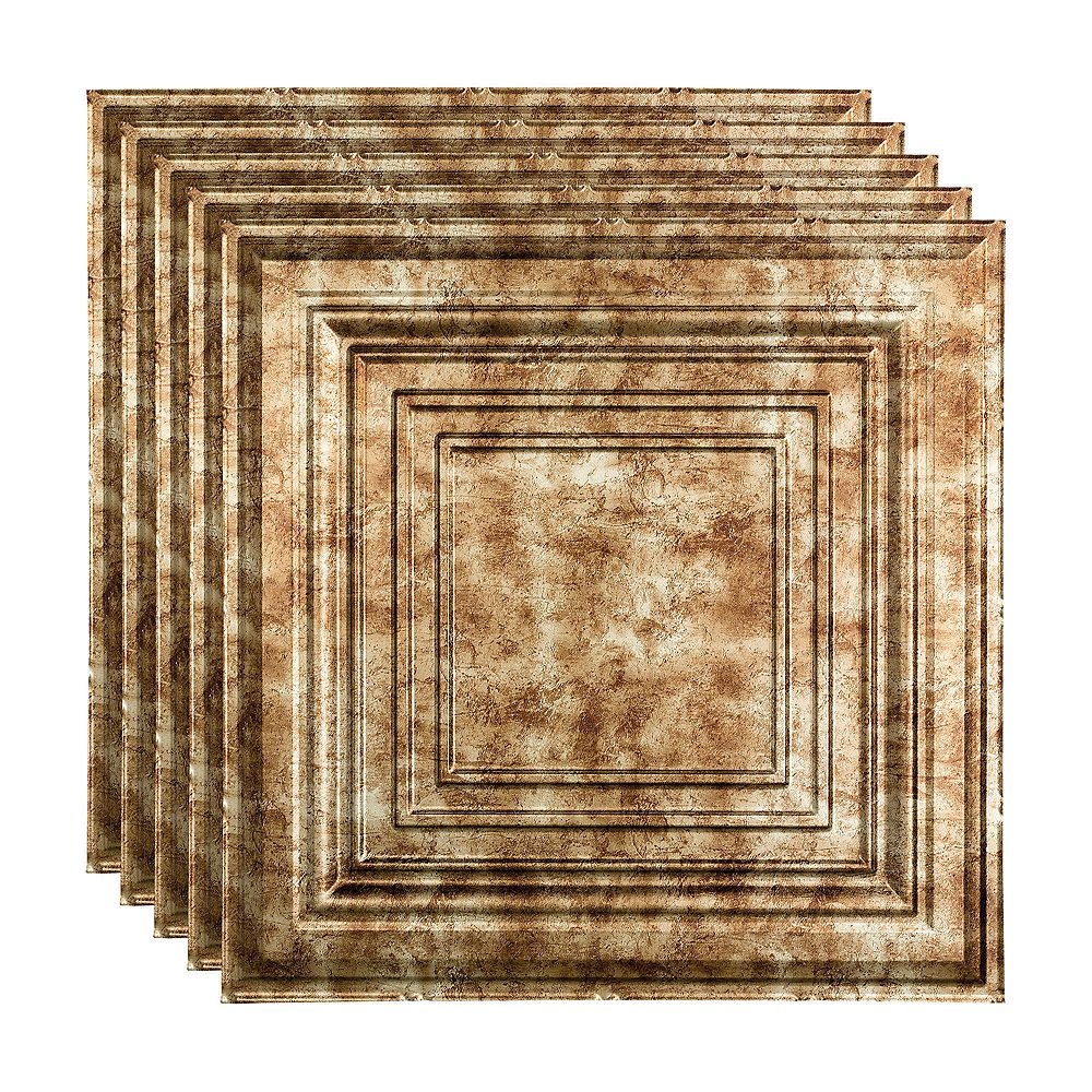 Fasade Traditional 3, 2x2 Lay In Ceiling Tile, Bermuda Bronze Finish 5-pack (20 sq ft)