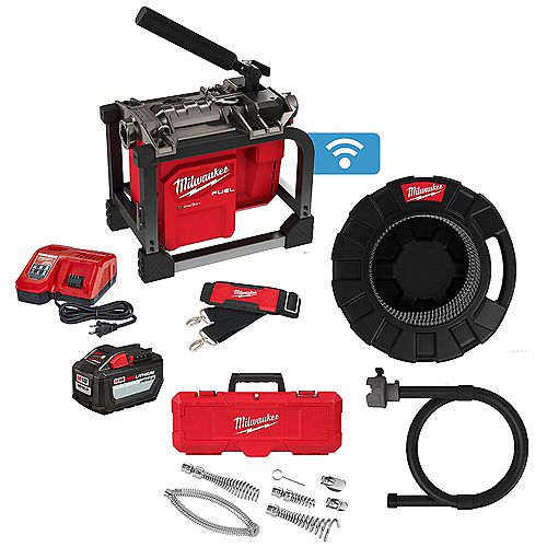 M18 FUEL 5/8 -inch x 7/8 -inch 18V Cordless Sewer Drain Cleaning Sectional Machine Kit with Cable