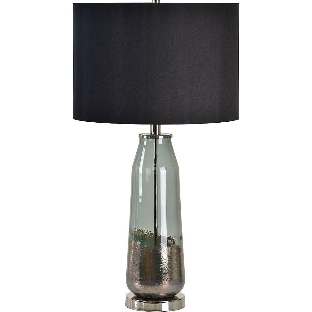 Notre Dame Design Lampe de table à base en verre noir avec abat-jour noir satiné 24 po Carrin