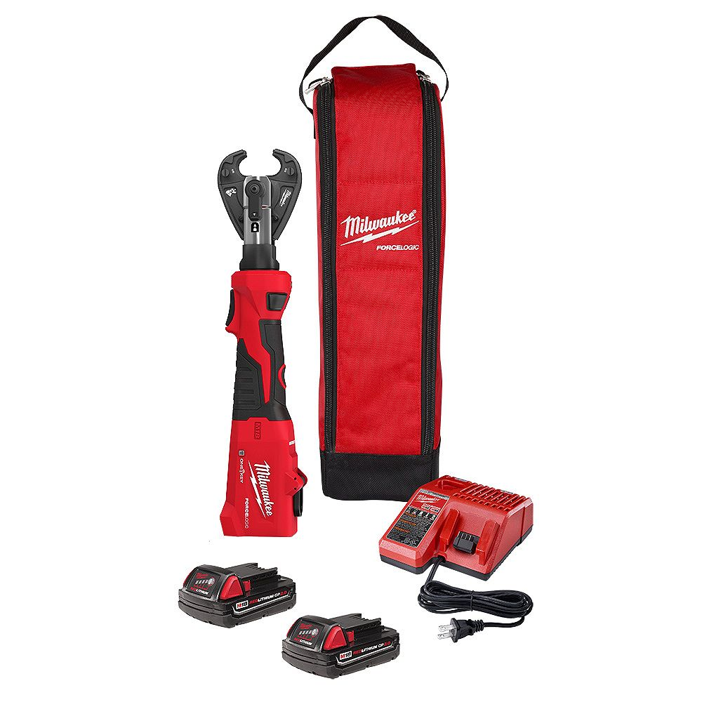 Milwaukee Tool M18 18V Lithium-Ion Cordless FORCE LOGIC 6-Ton Utility Crimping Kit with D3 Snub Nose Jaw