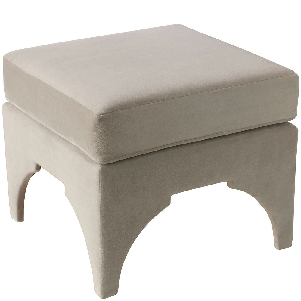 Skyline Furniture Garrett Ottoman in Regal Silver Grey