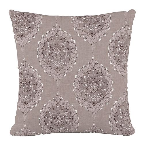"""18"""" Decorative Pillow in Damask Taupe"""