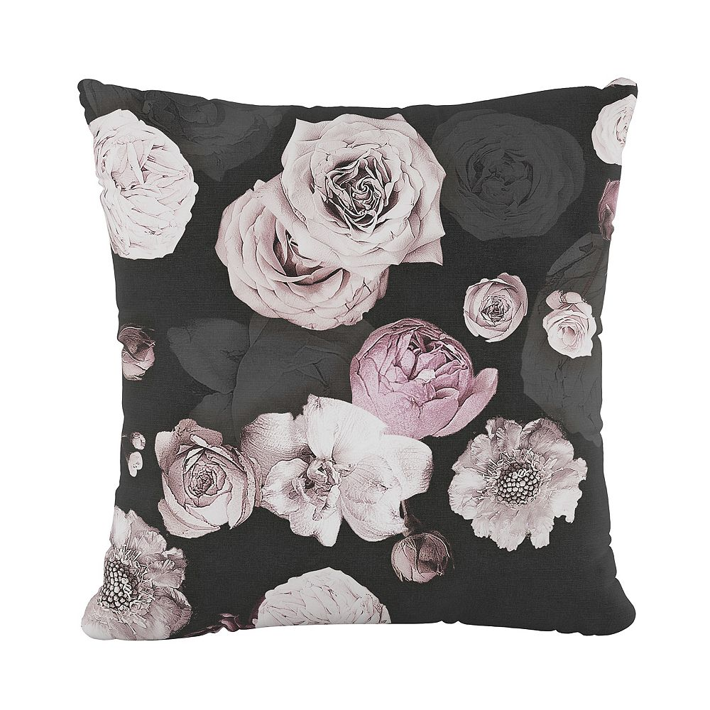 """Skyline Furniture 18"""" Decorative Pillow in Photofloral Icy Black"""
