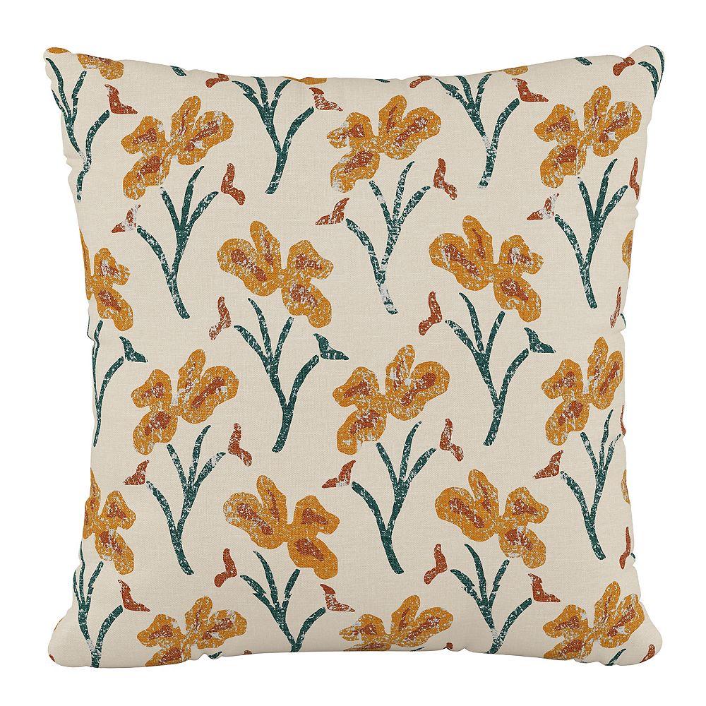 "Skyline Furniture 18"" Decorative Pillow in Vanves Floral Ochre Teal"