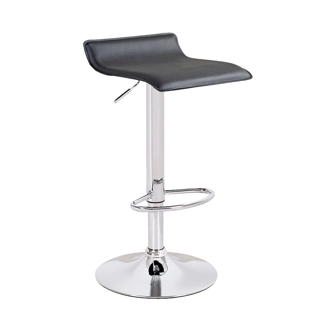 Bronte Living Leatherette Bar Stool with Adjustable Height and Swivel Design-1 Unit-Black