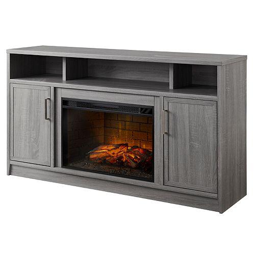 Brooklyn 60 in. Infrared Linear Media Electric Fireplace in Rustic Grey Oak