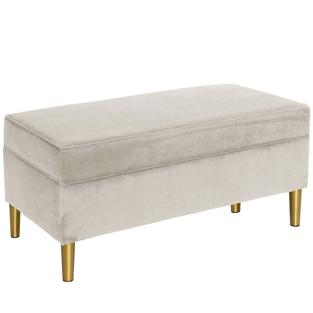 Skyline Furniture Banc de rangement Blair en velours gris clair avec pattes en laiton